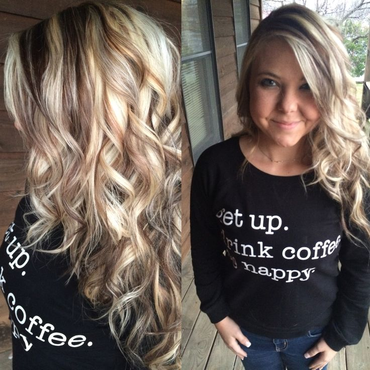 Long Highlighted Blonde Hair With Chunky Dark Lowlights My Clients Pinterest Blondes