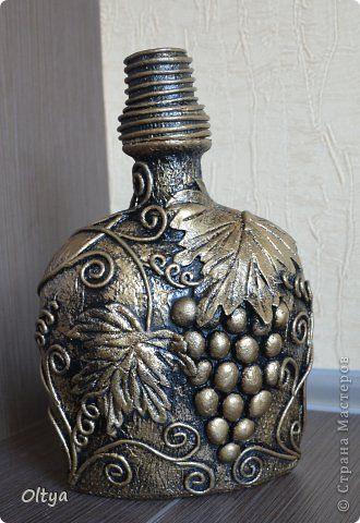 Декор предметов Аппликация из скрученных жгутиков Виноградные бутылочки Бумага Бутылки стеклянные Клей Тесто соленое фото 4