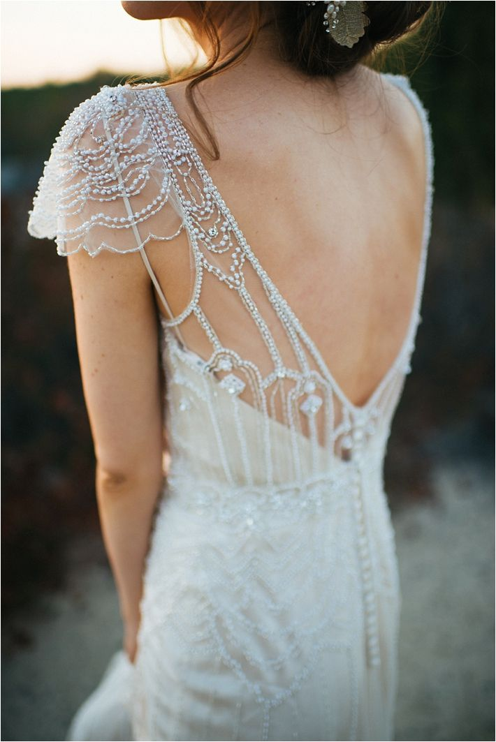 Illusion back wedding gown | Maggie Sottero Ettia | Romantic Gatsby wedding shoot | Alyssa Michelle Photography | www.borrowedandblue.kiwi