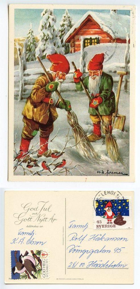 Sweden 1972 Postcard God Jul Gott Nytt ÅR Gnomes Christmas Seal | eBay