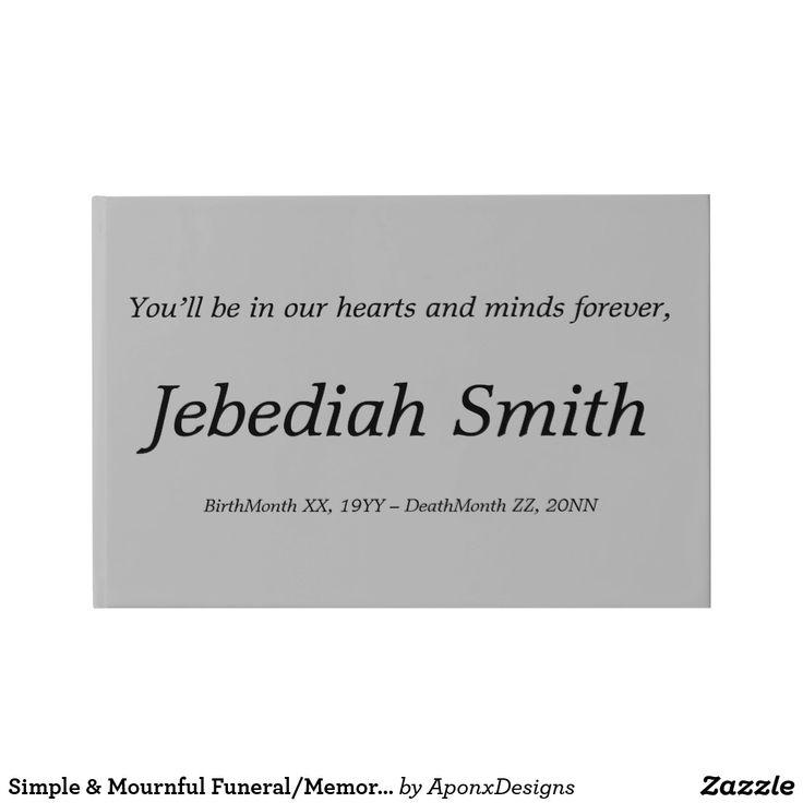 Simple & Mournful Funeral/Memorial Guestbook