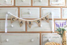 CARDS shabby vintage rustic country style hessian burlap wedding bunting banner