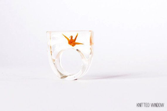 Tiny Orange Origami Crane Ring in Eco Friendly by KnittedWindow