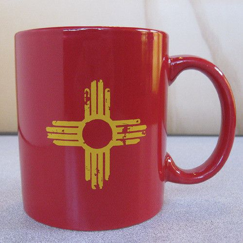 Distressed Yellow Zia- Red Mug