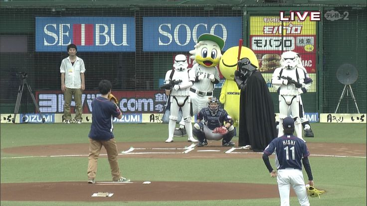 STAR WARS DAY at Seibu Dome: Darth Vader is at bat while Storm Troopers stand guard in honor of the Star Wars Day prior to the NPB game between the Chiba Lotte Marines and the Saitama Seibu Lions at Seibu Dome on July 7, 2013 in Tokorozawa, Saitama.