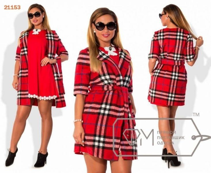 Пальто женское осеннее кашемировое в клетку Барберри красное
