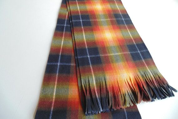 Plaid Scarf Black and Orange Tartan Scarf by bananafacility