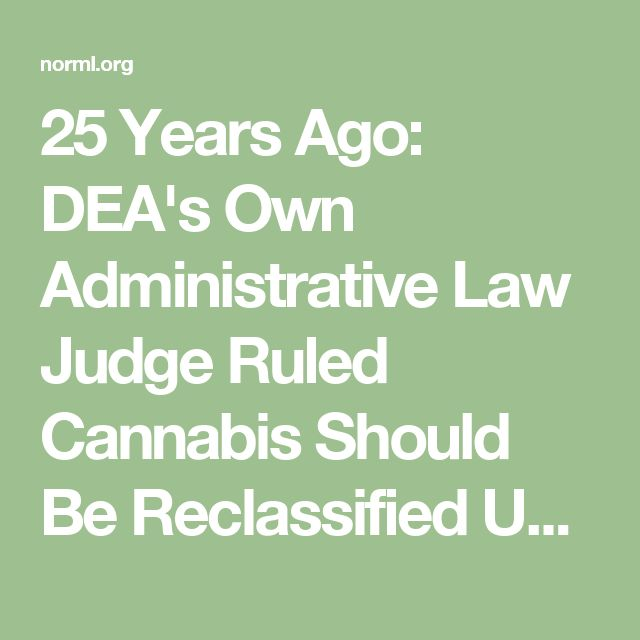 25 Years Ago: DEA's Own Administrative Law Judge Ruled Cannabis Should Be Reclassified Under Federal Law - NORML.org - Working to Reform Marijuana Laws