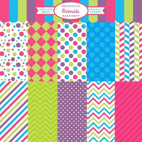 Mermaids Papers - cute papers to pair with Mermaid Clipart or to use for crafts, scrapbooking, and invitations.