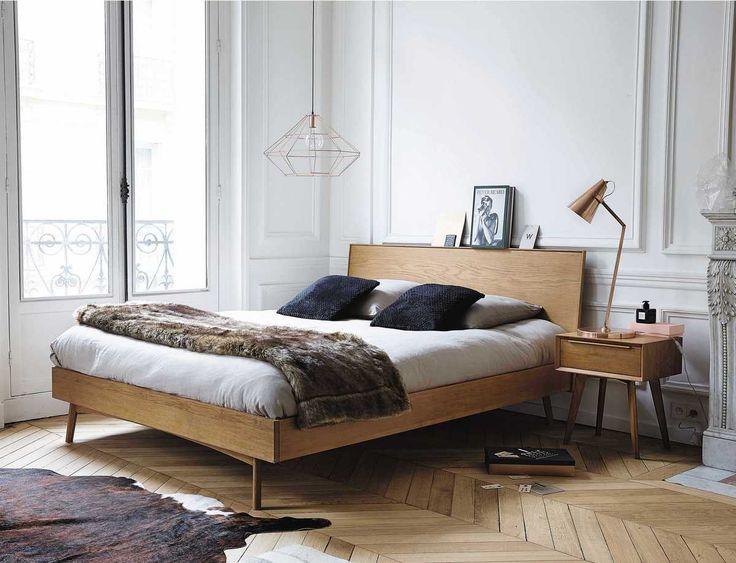 lit et chevet en bois vintage année 50 style scandinave