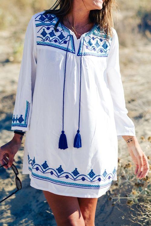Geometric Pattern Long Sleeve Dress