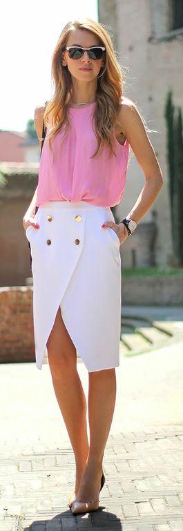 Por looks com mais assimetrias assim. Clássico e ao mesmo tempo a assimetria na saia traz modernidade ao look!