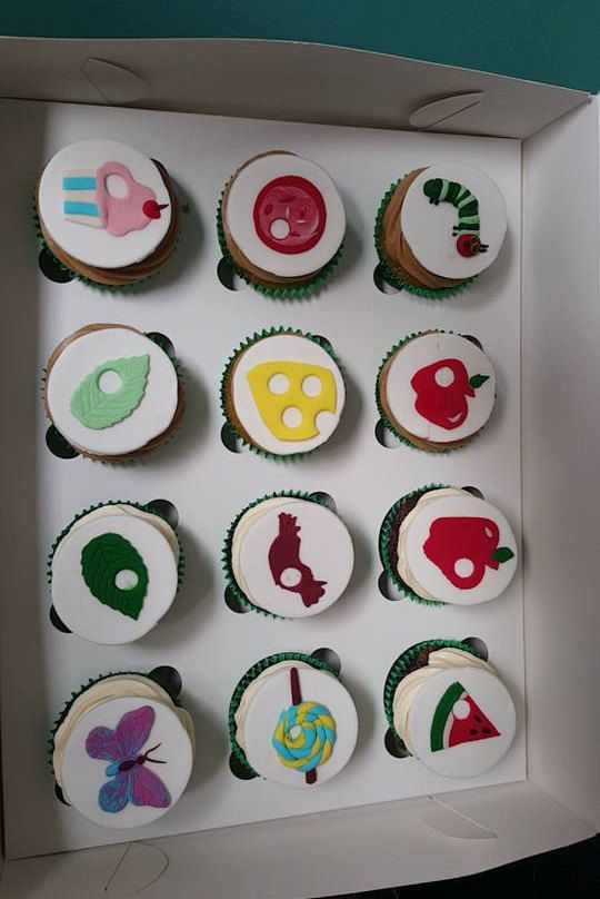 The Very Hungry Caterpillar cupcake toppers edible cake decorations by DebsSweetToppers on Etsy