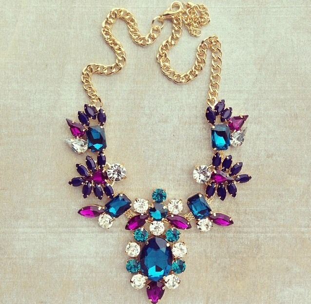 jewel tone statement necklace