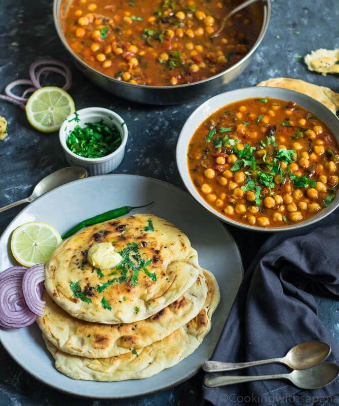 under 30 minutes chana masala and naan video cooking with sapana recipe in 2020 chana masala naan recipes with naan bread pinterest