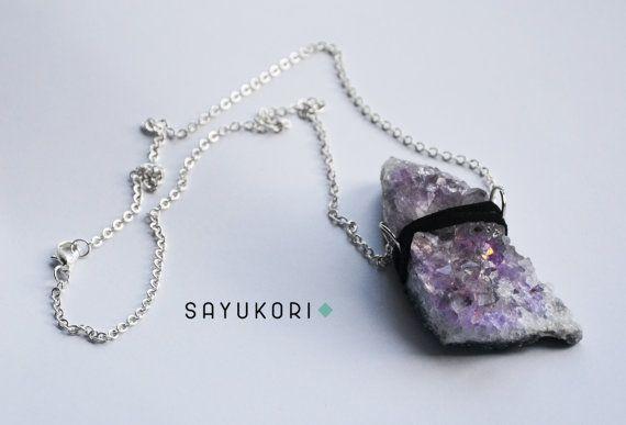 Raw amethyst necklace amethyst druzy necklace raw by Sayukori
