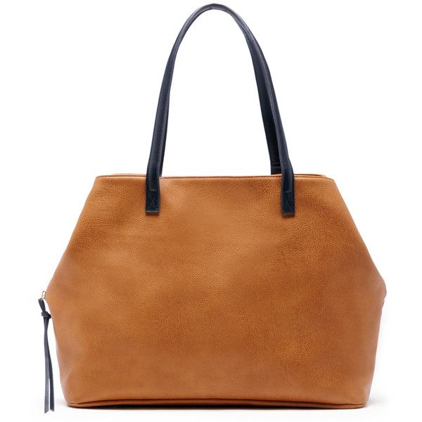 Sole Society Miller Oversize Tote featuring polyvore, women's fashion, bags, handbags, tote bags, cognac, oversized tote bags, vegan tote bags, cognac tote, vegan purses and oversized handbags