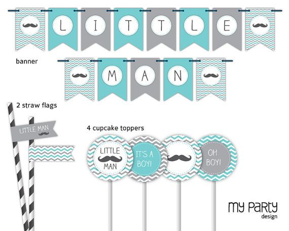 Mustache / Little Man Baby Shower Party - PRINTABLE Full Party Pack boy moustache chevron turquoise grey diy pdf