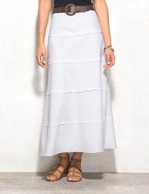 WESTPORT Petite Belted Tiered Linen Maxi Skirt