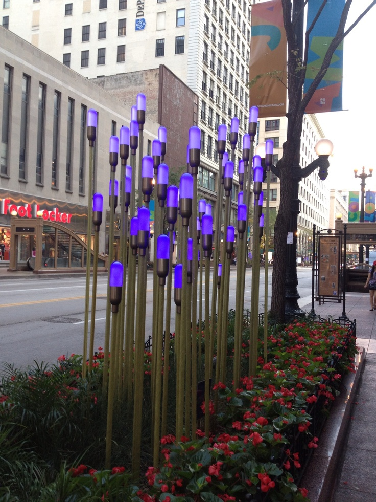 Color display in Chicago. The lights are timed to music.