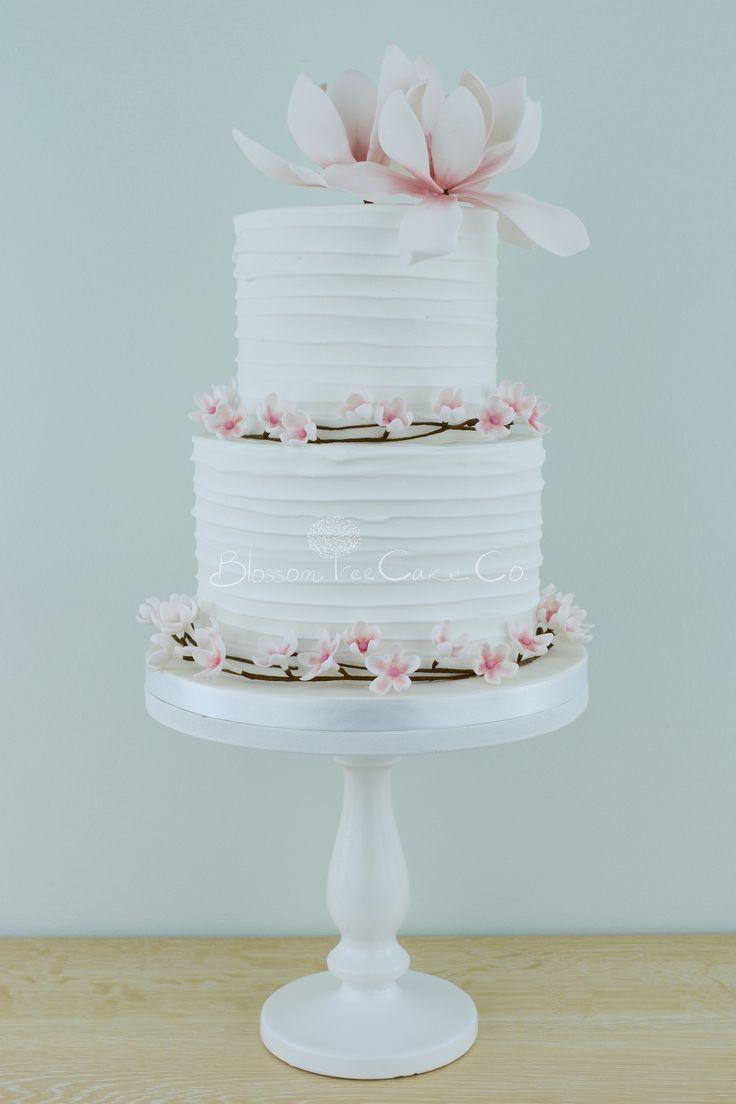 The blue cake company wedding cakes birthday cakes 2016 car release - Cherry Blossom Magnolias Wedding Cake By Blossom Tree Cake Company Harrogate North Yorkshire