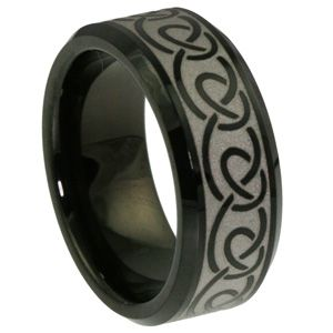 Dublin Celtic Knotwork Ring $199~ Dublin is a Tungsten Carbide Ring with #celtic design circling the ring. #Dublin rings are perfect   pieces of jewelry for any occasion. Dublin can be used as an Irish wedding ring or engagement  band. Dublin is scratch resistant and its polish will last a lifetime. The engraved knot work is  laser engraved on the surface.... via- http://www.forevermetals.com/beveled-tungsten-wedding-ring/dublin-celtic-knotwork-ring/ #tungsten #carbide #wedding #rings #bands