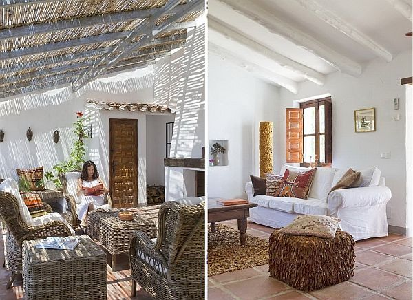 El Caligto is located in the So. of Andalucia, Spain. This lovely country house is built in the local style, comes w/ a rustic ambiance  offers great views of the Mediterranean Sea. You may notice the rough wood pieces of furniture which are combined w/ rugs or poufs that seem to imitate the same rough image. This entire rustic picture is completed by the presence of old chandeliers, antique accessories  the outdoor wicker furniture.Take a look  relax your eyes w/ such a splendid place!