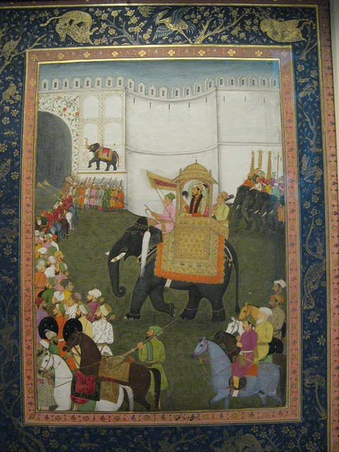 Dara Shikoh Entering Lahore Fort, Pergamon Museum, Berlin Mughal miniature from the 17th century. Opaque colours and gold on paper.