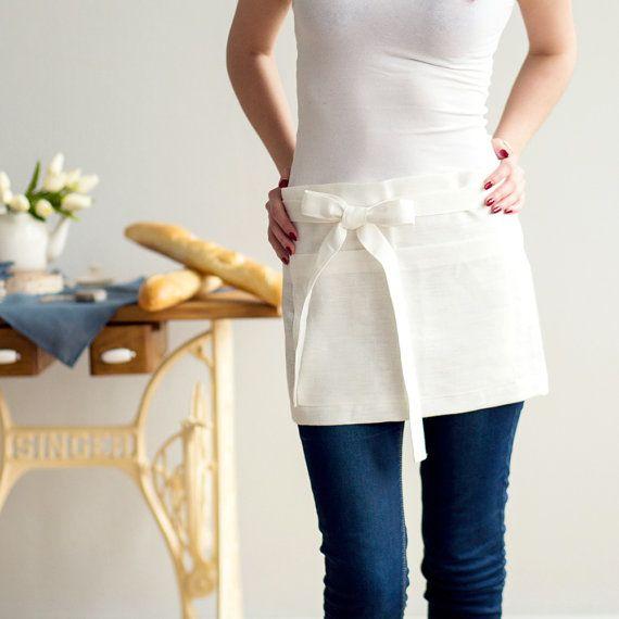 Short ivory Linen half APRON  Chef Apron  Waist Apron by CozyLinen