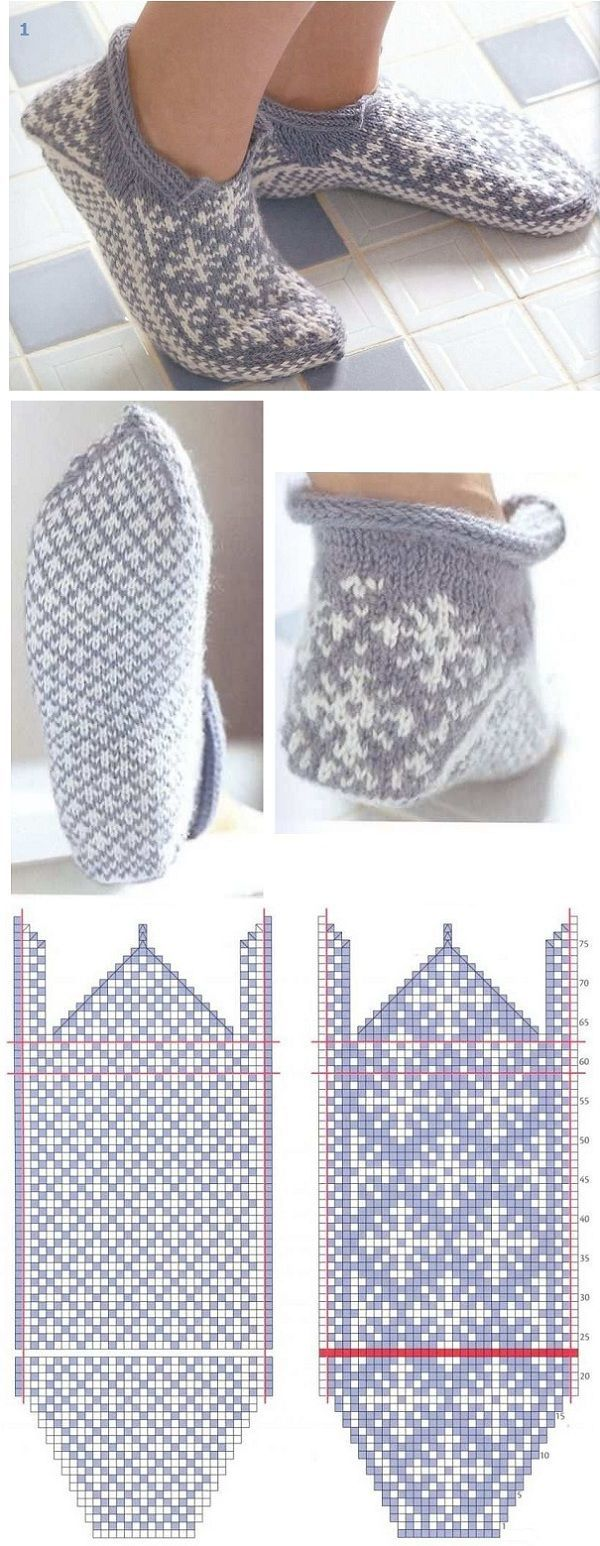 вязание носков с мыска - colourwork slippers knitting pattern - strikking