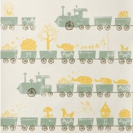 Tiny train carta da parati verde, giallo e binaco - ferm LIVING trend-HOUSE   DESIGN SCANDINAVO PER LA TUA CASA {per la camera dei bambini - Children's room}