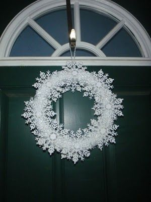 diy snowflake wreathChristmas Wreaths, Dollar Stores, Diy Snowflakes, Snowflakes Wreaths, Toys Boxes, Toy Boxes, Christmas Decor, Christmas Ideas, Winter Wreaths