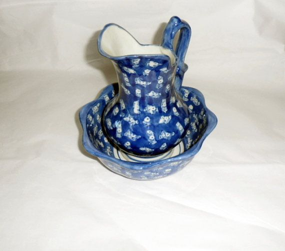 1970s BLUE FLOW Pitcher n Bowl Cream n Sugar by BYGONERA on Etsy