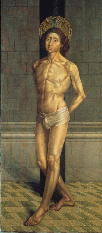 St. Vincent tied to the Column Nuno Gonçalves c. 1470 Tempera and oil (?) on Oakwood Purchase 1915 or 1916 Inv 1549. Museu Nacional de Arte Antiga