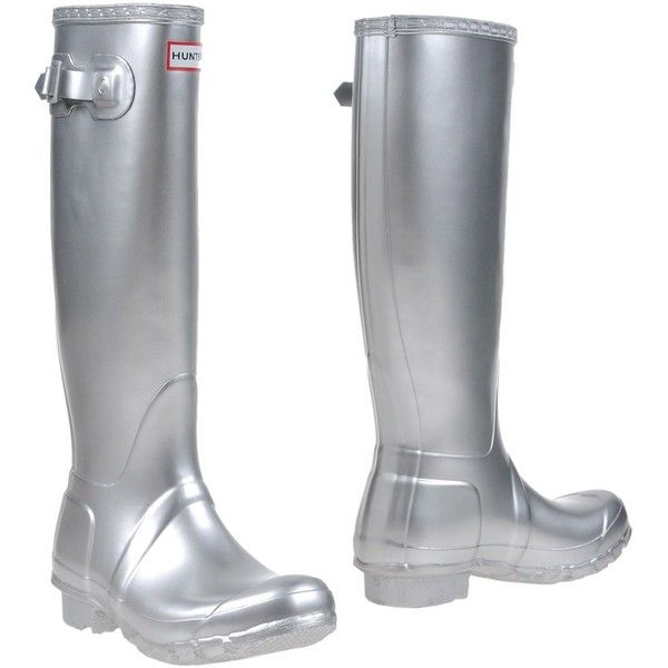 Hunter Boots ($131) ❤ liked on Polyvore featuring shoes, silver, wellington boots, rain boots, round toe shoes, wellies shoes and hunter footwear