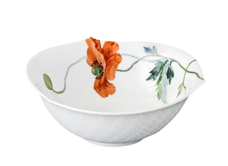 "Dessert bowl, Shape ""Waves relief"", Wild poppy, red, white rim, L 14,3 cm"