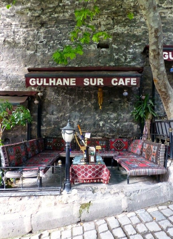 A cafe nestled against part of the old city wall, Istanbul