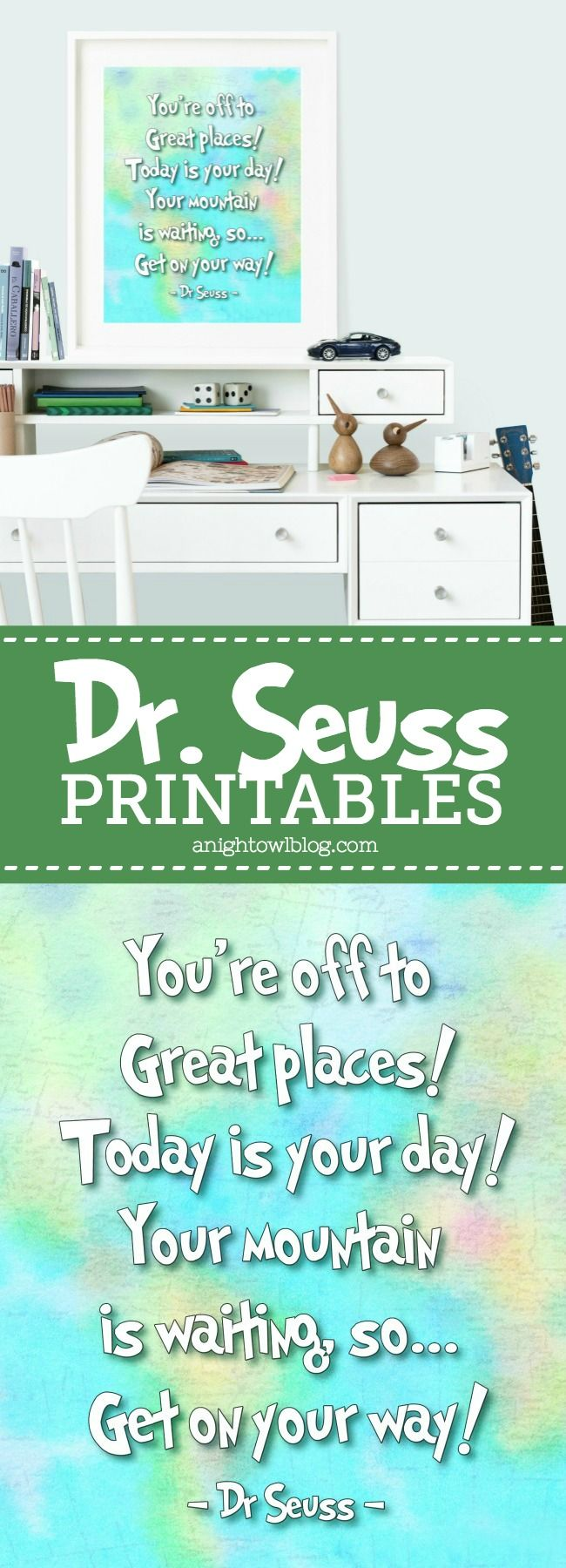 Do you love Dr. Seuss? Then you'll love these Oh the Places You'll Go Dr. Seuss Printables - perfect for any kids space!
