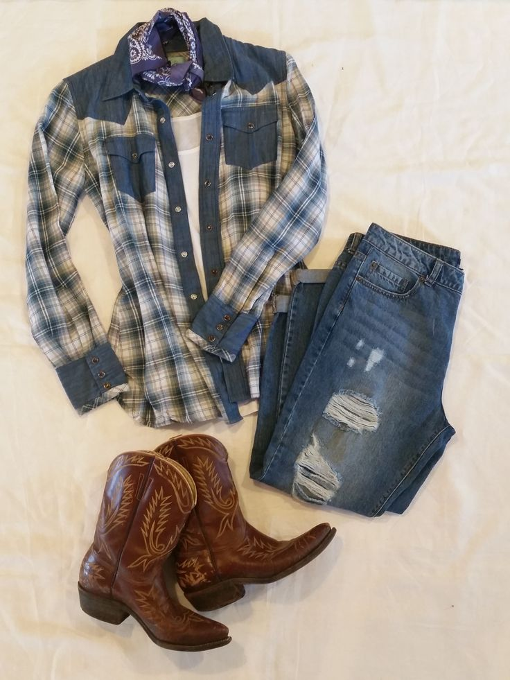 Cowgirl style outfit plaid warrior shirt by Tasha Polizzi cowboy boots ripped jeans Spring 2015 get the look at http://www.tashapolizzi.com/item_detail.php?id=176