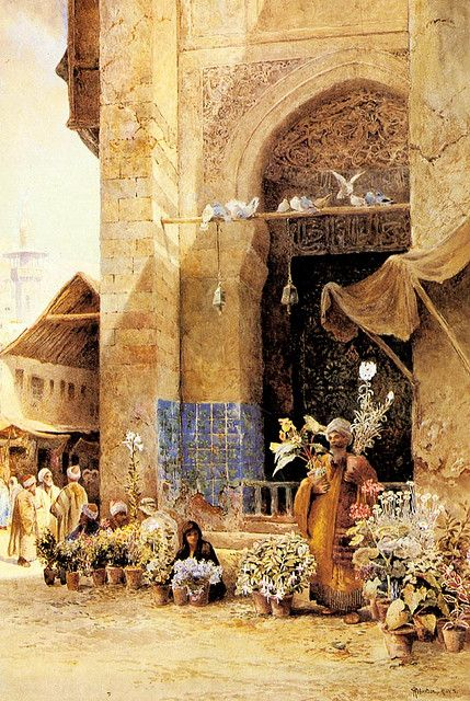 Charles Robertson - The Flower Market In Damascus♥