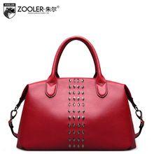 ZOOLER Genuine Leather Handbags Fashion Rivet Decoration Women's Shoulder Bag Wine Red Tempetation Femmes Sac Has Slit Pocket