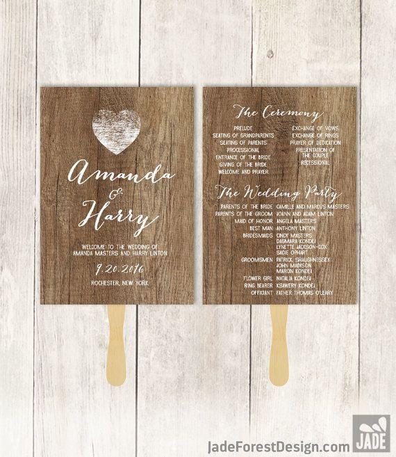 Rustic Wedding Program Fan DIY / Distressed Rustic Wood, Heart / Bridal Party, Schedule / Ceremony Program ▷Printable PDF