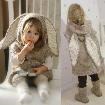 Cute Big Rabbit Ears Sleeveless Hooded Long Knitted Sweater
