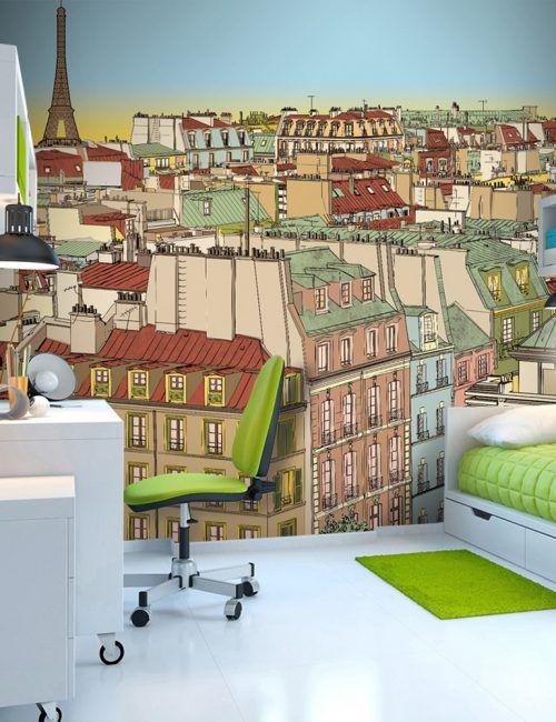 Carta da Parati Buongiorno Parigi Carta da Parati Fotomurale Tema Viaggi
