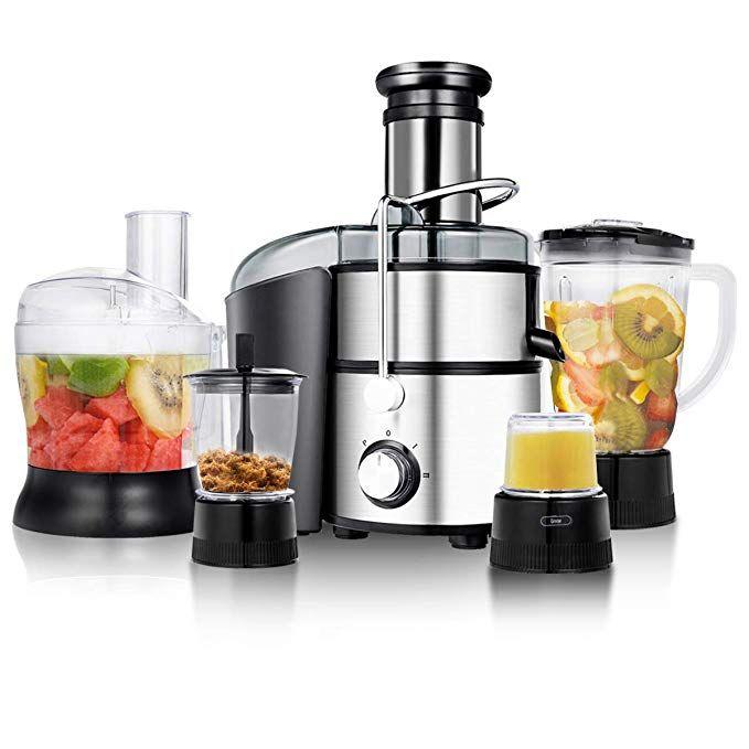 Goplus Juice Extractor 5 In 1 For Fruit Vegetable And Meat W Blender Chopper Grinder And Food Proce Food Processor Recipes Centrifugal Juicer Juicer Machine