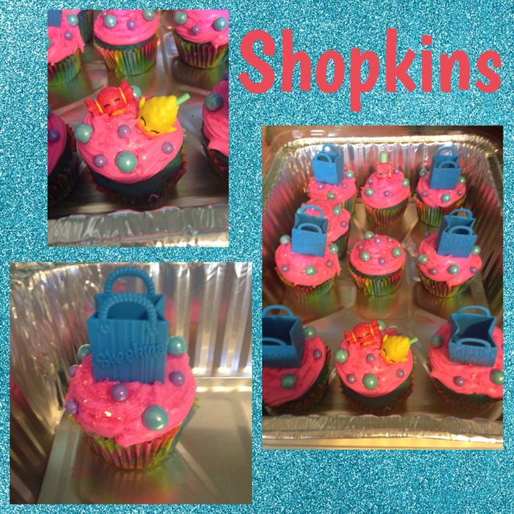 My daughters Shopkins Cupcakes I made for her birthday! #shopkins #birthday #cupcake #shopkinscake #shopkinsbirthday
