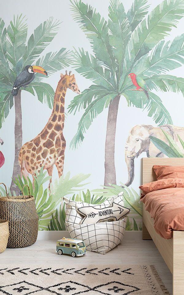 Watercolour Jungle Nursery Wall Mural Nursery Wall Murals Kids