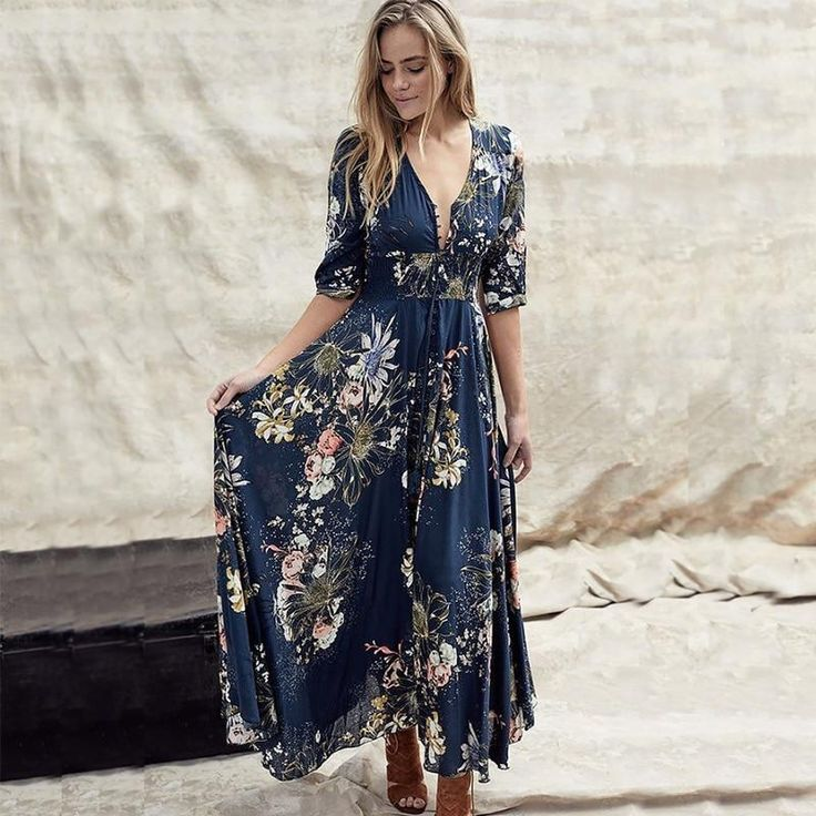 Floral Print Bohemian Long Sleeve Dress! So Pretty! Sizes: S M L XL