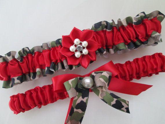 Red CAMO Wedding Garter Set, Red Wedding Garters, Kanzashi Flower, Army Military Camo Weddings, Air Force Wedding Garters, Red Keep Toss on Etsy, $42.99