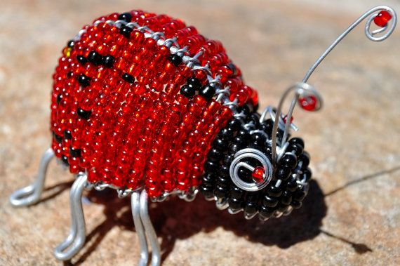Beaded ladybug (African wire and bead art)